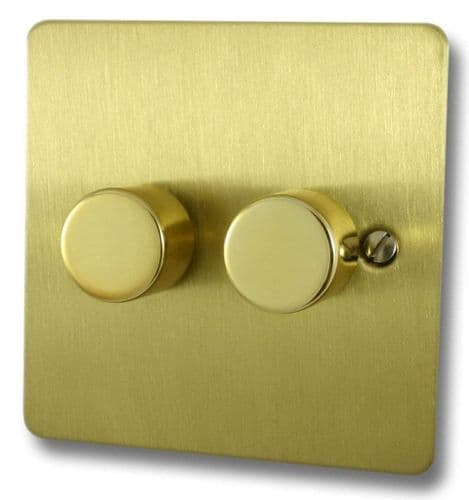 G&H FSB12 Flat Plate Satin Brushed Brass 2 Gang 1 or 2 Way 40-400W Dimmer Switch